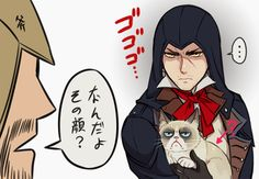 Assasssins Creed Arno and grumpy cat on http://sinzui.tumblr.com/tagged/my+art/page/5
