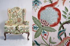VTG Crewel Embroidery Wingback Chair / 1970s by foundshop on Etsy, $455.00....love this chair! So wish i could get this embroidered fabric or something like it and reupholster my craigslist wing chairs. Beautiful colors. Back and sides are done in accented rust suede fabric.