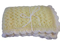 "Baby Blanket Hand Crochet, Lemon Yellow with cream trim, Thick quality stitches, 20"" 51cm by 26"" 66cm, baby gift, baby shower, pram blanket by WoollySpinners on Etsy"