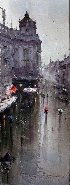 dusan-djukaric-rainy-day-in-knez-watercolor-18x56-cm