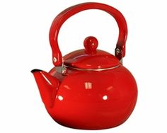Each home needs a tea kettle - Reston Lloyd offers a 2 quart tea kettle made of heavy gauge porcelain enamel on steel that features a solid red base and lid. The handle is heat-resistant. Use only on gas or electric stovetops. - Hand wash only.