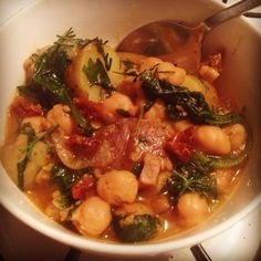 Spain-inspired vegetarian garbanzo stew (potage): onion, garlic, pumpkin, dill, kale, sun-dried tomato, paprika, fingerling potato, textured vegetable protein (instead of pig), salt, pepper, drizzled with olive oil.