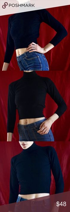 df0913b2973 Merino wool mock neck sweater Black merino wool cropped mock turtleneck.  Such a great fit! Best fits S, would also work for XS.