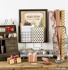 Here's a unique gift-wrapping tip: keep your wrapping supplies together and in plain view to make wrapping gifts easier! Create an organized wrapping station filled with scissors, tape, twine, ribbon and wrapping paper.