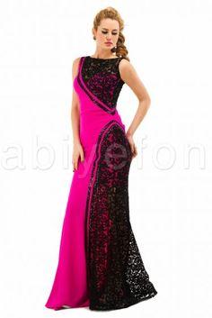 Siyah-fuşya uzun abiye elbise O1027