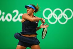 Madison Keys Photos - Madison Keys of the United States plays a forehand during the Women's Singles second round match against Kristina Mladenovic of France on Day 3 of the Rio 2016 Olympic Games at the Olympic Tennis Centre on August 8, 2016 in Rio de Janeiro, Brazil. - Tennis - Olympics: Day 3
