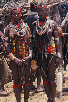 Africa |  Beautiful Hamer women visit a local market. Lower Omo valley.  Ethiopia | ©BoazImages