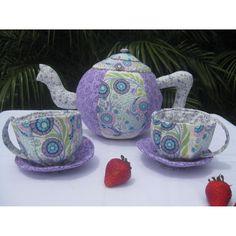 #ladybird2turtle #pinadayoct #soft $45.00 Springtime lavendar fabric tea set by Littlemissymister on Handmade Australia