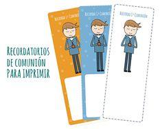 Recordatorios de comunión para niño. Para descargar gratis: http://manualidades.euroresidentes.com/2013/04/detalles-de-comunion-para-nino.html