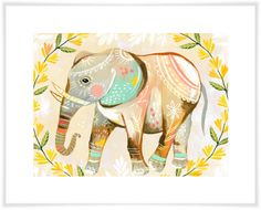 Wild Flower Elephant - Art Print, Wall Decal or Stretched Canvas. Katie Daisy.