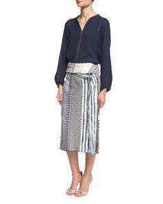 Aubrey+Silk+Blouse+&+Terry+Printed+Sarong+Skirt++by+Kobi+Halperin+at+Neiman+Marcus. $498