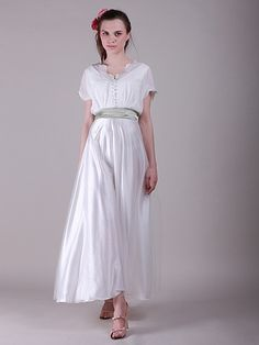 Loose Bodice Belted Vintage Little White Dress