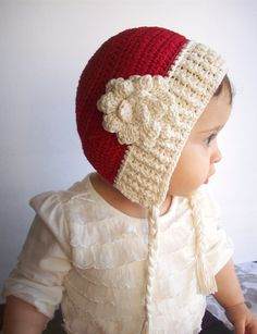 Christmas baby hat holidays bonnet with flowernew by LovelyKensie, $30.00