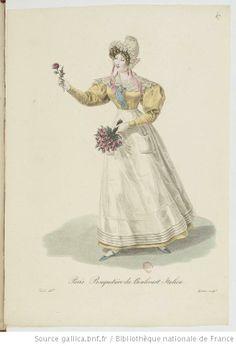Bouquetière du boulevard Italien from Georges-Jacques Gatine, Costumes d'ouvrières parisiennes, 1824, BNF Paris