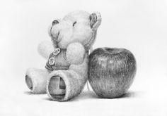 1. 스케치 2. 초벌, 기본 명암 3. 양감 4. 묘사, 마무리 대구, 미술, 화실, 소묘, 드로잉, 정물화, 정물소묘, 소묘과정, 인형 소묘, 사과 소묘, 취미미술, 그림, 털 묘사
