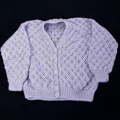 Baby girls cardigan hand knitted in sparkly mauve 2 - 3 years 26 inch chest £10.00
