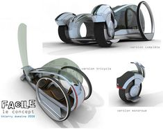 Eco Transportation, Green Car, Facile, Cars, Concept vehicles, Zero mission, Solar Power, Pedal Power