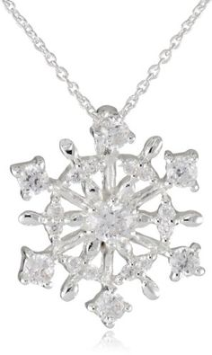 "Silver Plated Cubic Zirconia Starburst Snowflake Pendant Necklace, 18"" $19.99 #bestseller"