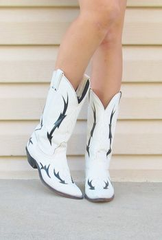 Vintage Black and White Leather Cowgirl Boots