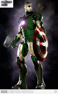 Green for hulk, the shield for captain America, the hammer for Thor, the quiver for hawk eye, the patch for nick furry (or sheild) all on iron man!! It's a all in one avenger!! The ultimate weapon!!!! <3