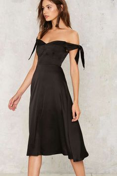 Charli Satin Midi Dress - Best Sellers | Cocktail Dresses | Fit and Flare Dresses | Black Dresses | Off The Shoulder | Black Friday Clothes