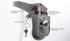 Carry what you need and keep hands free while walking, biking, grocery shopping, etc. with the three-pocket Wholester belt-pack. Hip Purse, Hip Bag, Waist Purse, Waist Pouch, Leather Craft, Leather Bag, Holster, Betabrand, Leather Working