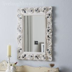 Large Ornate Mirror - Antique White