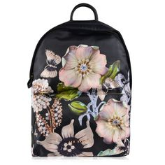 TED BAKER Ivona Back Pack ($120) ❤ liked on Polyvore featuring bags, backpacks, leather zipper backpack, logo backpacks, leather knapsack, leather backpack and floral print backpack