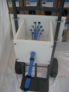 Cable dressing/bundling tool mounts to hand cart, cable reel, work platform…