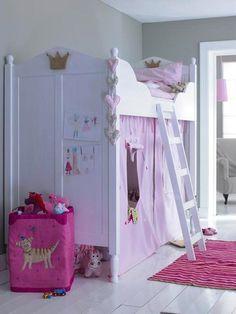 princess bunk bed idea white pink design wooden ladder