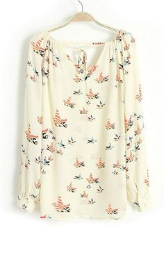 V-Neck Birds Blouse – Trendy Road