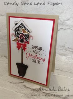 Quick share today... birdhouse from Candy Cane Lane papers... greeting from Tin of Tags... birds from Thoughtful Branches... bow from Hol...