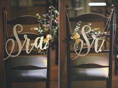 placa de cadeira noivos Sr&Sra: