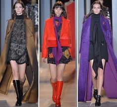 Paris: Bill Gayten's collection for John Galliano infuses classic art deco black and gold patterns with youthful pops of orange, purple, and fish...