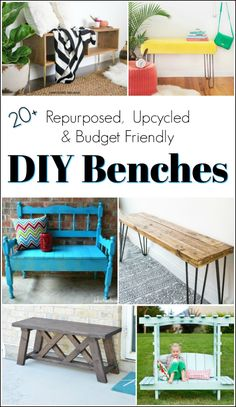 Build your own bench, upcycle an old headboard or if you prefer painted furniture this collection of repurposed, upcycled & DIY benches has it all.