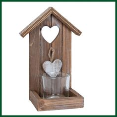 Teelichthalter Holz Vogelhaus Windlicht Herz Vintage