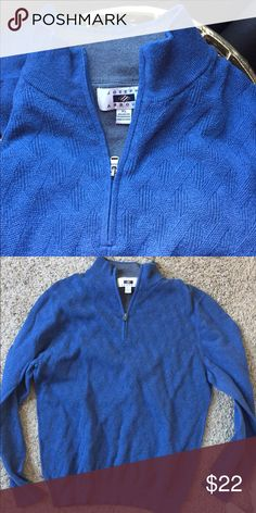 Joseph Abboud Blue Half-Zip Sweater Men's Blue Light weight Joseph Abboud Pull Over Sweater.  Great Quality 95% Cotton & 5% Cashmere!!!!! Soft!!!! 1/2 Zip Sweater Gray Interior Collar.  Only wore 2-3x. Joseph Abboud Sweaters Zip Up