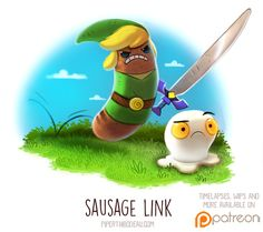 Daily Paint Sausage Link by Piper Thibodeau on ArtStation. Cute Animal Drawings, Kawaii Drawings, Cute Drawings, Animal Puns, Funny Animals, Cute Animals, Animal Food, Wild Animals, Pokemon