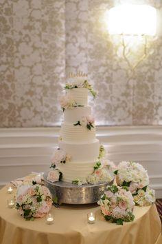 Five Tier Flower Covered Cake | Eli Turner Studios https://www.theknot.com/marketplace/eli-turner-studios-silver-spring-md-558989