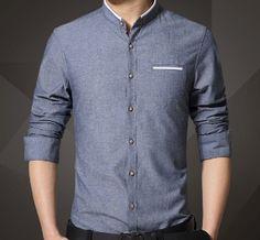 56ab2699749f6 Men s mandarin collar shirt. Stand Collar Shirt