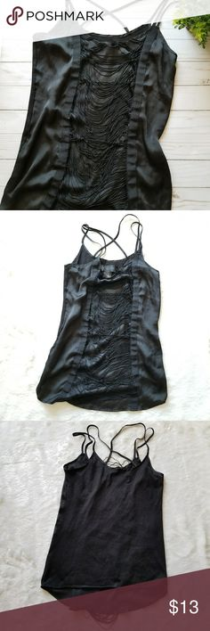 "Black Camisole!! Cute black camisole with tassels by Kardashian Kollection. Size Small. Pre-owned and in good condition. Normal wear and some lint. 24.5"" long and 17.5"" pit to pit. Comes from a smoke-free pet-free home. Fast shipping! NO TRADES! Kardashian Kollection Tops Camisoles"