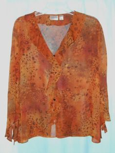 CHICO'S 100% SILK-Brown Animal Print Sheer Blouse -Women Size 1=Small (8)-L/S #Chicos #ButtonDownShirt #Career