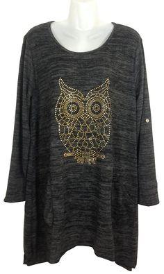 Damen Longshirt, Motiv Eule mit Nietenbesatz, Länge ca. 90 cm, Onesize/bis Gr.44