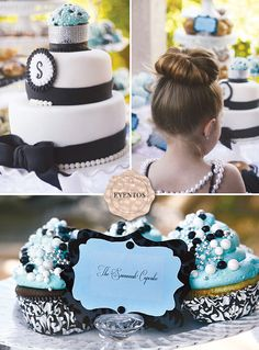 Breakfast at Tiffany's themed little girl birthday party. I would do it for an older party like 10 or 12 so I could screen the movie and they would know what it is Tiffany Birthday Party, Tiffany Party, Birthday Party Themes, Girl Birthday, Birthday Ideas, 70th Birthday, Breakfast At Tiffany's, Birthday Breakfast, Breakfast Cupcakes