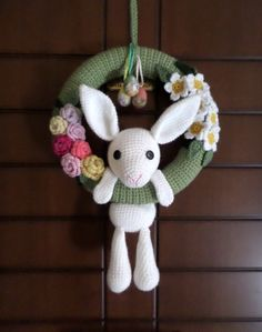 Crocheted Easter Wreath, Crochet Wreath, Wreath for Easter, Wreath, Flower Wreath, Floral Wreath, Spring Decor, Spring Door Decor by Vintagespecialmoment on Etsy