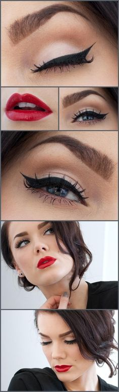 I love this vintage make-up look, probably my fave! Makeup Tips and Tutorials! Vintage Triple Winged Eyeliner and make-up Pretty Makeup, Love Makeup, Gorgeous Makeup, Makeup Style, Perfect Makeup, Amazing Makeup, Pin Up Makeup, Amazing Eyes, Bridal Makeup