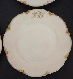 Haviland France Dinner Plate Lot 7 White Gold Scalloped Edge Monogram DBS