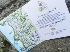 Save the Date or Wedding Invitation Watercolor and Calligraphy Map Booklet design and prints
