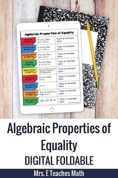 Algebraic Properties of Equality Digital Foldable for Distance Learning Geometry Proofs, Geometry Vocabulary, Teaching Geometry, Math Lesson Plans, Math Lessons, Algebraic Properties, Math Classroom, Classroom Ideas, Math Writing