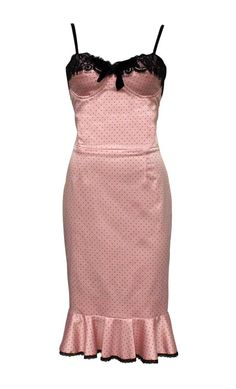 French Fantasy Peplum Dress by Jools Couture. Spectacular Pink Sateen Dress with petite black dot, eyelash lace and black velvet bow trim. #formal #evening #prom We ship worldwide.  www.joolscouture.com